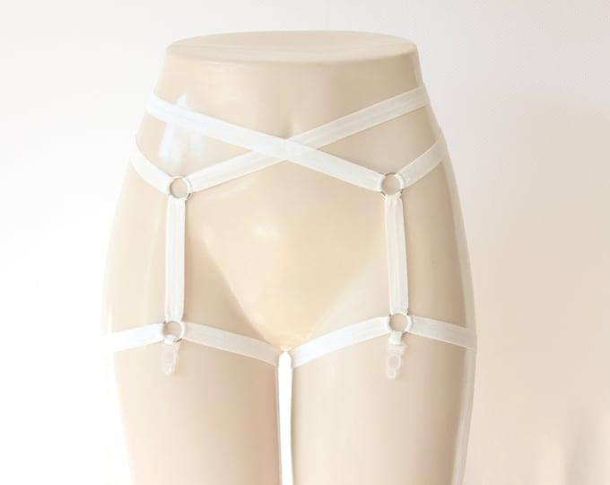 White Wedding Garter Belt: Body Cage Garters, White Suspender Belt, White Lingerie, White Garters, Wedding Lingerie, White Suspender Belt