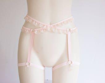 Pink Garter Belt: DDLG, Pastel Goth, Lace Lingerie, Pink Lingerie, Adult Roleplay, Ruffle Garter, Pastel Pink Clothing, Costume Lingerie