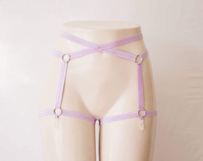 Purple Garter Belt: Pastel Punk, Purple Lingerie, Festival Costume, Burlesque Garter, Exotic Dancewear, Pin Up Fashion, Lavender Harness