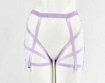 Pastel Purple Garter Belt: Lavender High Waist Garter, Body Harness Lingerie, Strappy Leggings, Pastel Goth, Purple Lingerie, Exotic Dance