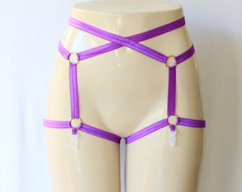 Neon Clothing: Garter Belt, Purple Lingerie, Festival Outfit, Burlesque Costume, Exotic Dancewear, Pin Up Style, Plus Size Garter, Strappy