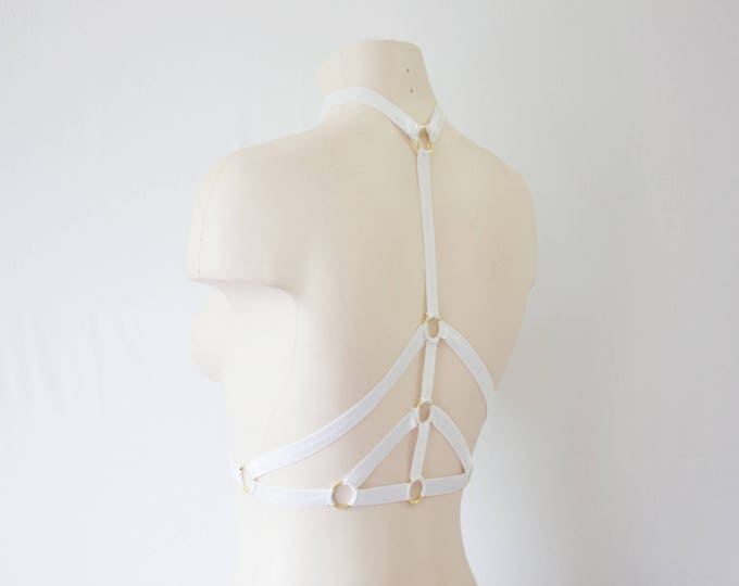 White Bralette: Wedding Lingerie, Glow Clothing, Festival Top, Rave Outfit, Exotic Dancewear, White Lingerie, White Body Harness, Halter Top
