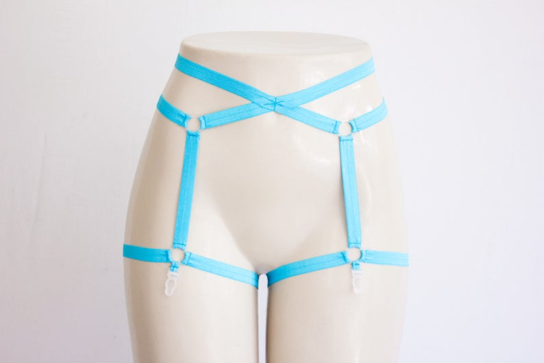 b364761c960 Blue Lingerie Garter Belt: Neon Clothing, Pin Up Style, Exotic Dancewear,  Festival Shorts, Rave Outfit, Blue Clothing, High Waist Underwear