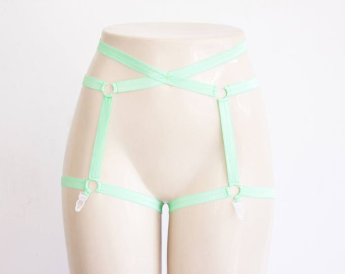 Green Garter Belt: Green Lingerie, Body Harness, Festival Fashion, Pastel Goth, Pastel Clothing, Pin Up Style, Burlesque Costume, EDM, Mint