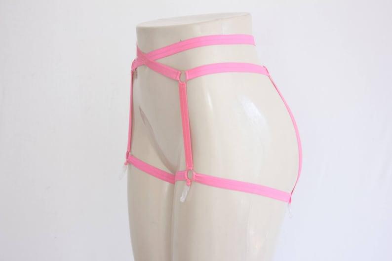 8440682da47 Pink Cage Garter Belt  Festival Shorts Glow Clothing Exotic