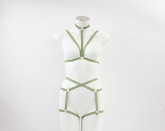 Limited Edition Sage Green Body Harness Lingerie Set: Cage Bralette, Cage Garter Belt, Earth Tone, Strappy Outfit, Triangle Bra, Dancewear