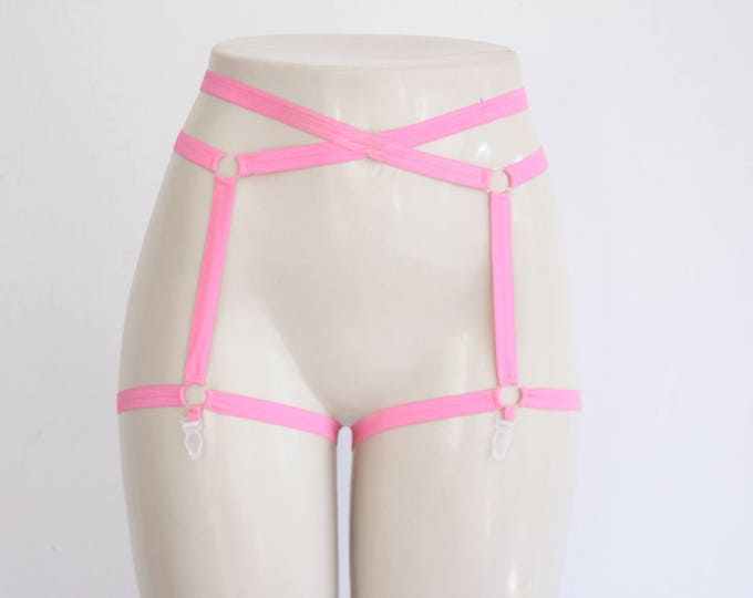 Pink Cage Garter Belt: Festival Shorts, Glow Clothing, Exotic Dancewear, Neon Pink Body Harness, Neon Lingerie, Pink Underwear, Pin Up Style