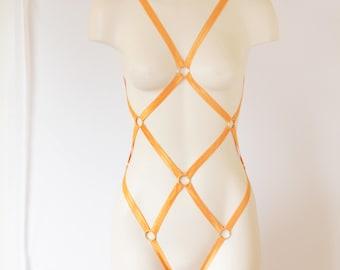 Orange Body Harness: Orange Lingerie, Exotic Dancewear, Festival Bodysuit, Strappy Lingerie, Burlesque Costume, Pumpkin Costume, Fish Net