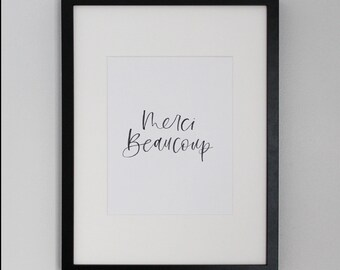 Merci Beaucoup | French art print | Art print | Merci | Modern calligraphy | Brush calligraphy | French quote | Typography print | Hygge