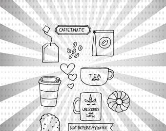Coffee and Tea Digital Stamp Set