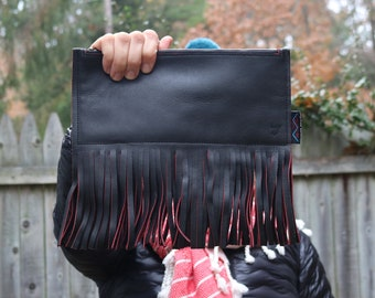 a976aadd0f Black Handbag   Small Bag   Leather Purse   Gift for Her   Made in the USA    One of a Kind Gift   Unique Bag   Soft Leather   Fringe Purse