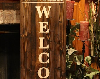 "Handmade Distressed Wood ""Welcome"" Wall Sign Personalized with Family Name"