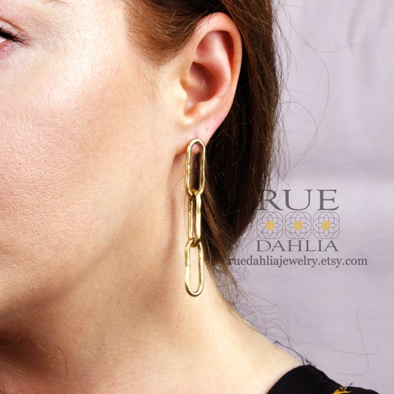 STATEMENT HOOP EARRINGS with gemstones and chunky chain mixed stones gifts under 50 for her