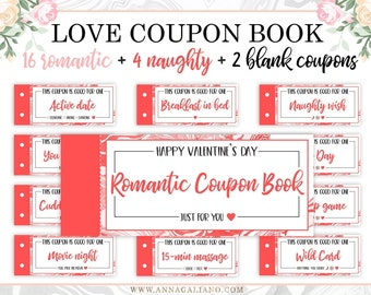 love coupon book valentines day gift for him gift for her boyfriend gift love coupons for him printable coupon book anniversary gifts