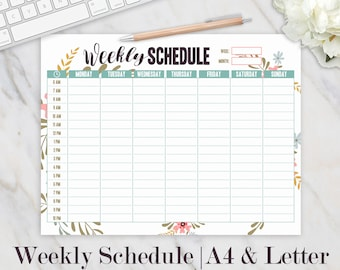 image relating to Cute Hourly Planner referred to as Weekly plan Etsy