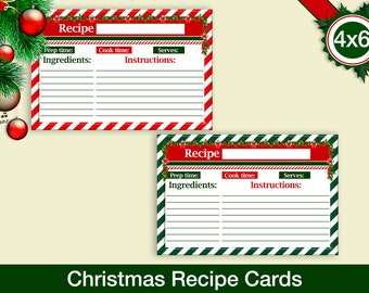 picture about Printable Christmas Recipe Cards referred to as Family vacation recipe card Etsy