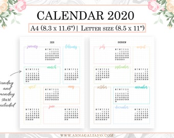 Calendrier Bullet Journal 2020.2020 Calendar Printable Year At A Glance 2020 A5 Planner Etsy