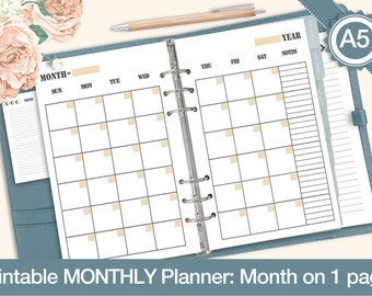 A5 Printable Calendar Planner, Undated Monthly Planner, Month on 2 pages, MO2P, Filofax Inserts