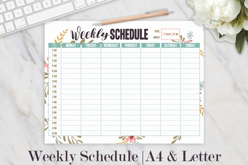 photograph relating to Homeschool Daily Schedule Printable identify Weekly Program Printable, Scholar Hourly Planner, Weekly Organizer, Weekly Printable, Day by day Plan, Homeschool Planner, Spouse and children Planner