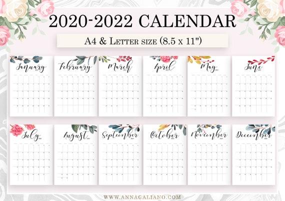 Letter Carrier Calendar 2022.Wall Calendar Printable 2020 2021 2022 Wall Calendar Etsy
