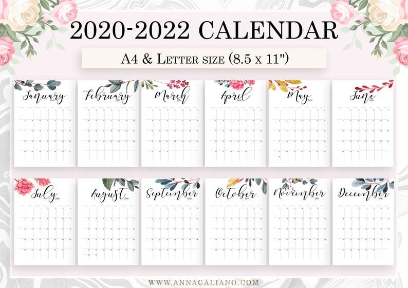 Wall Calendar Printable 2020 2021 2022 Wall Calendar | Etsy
