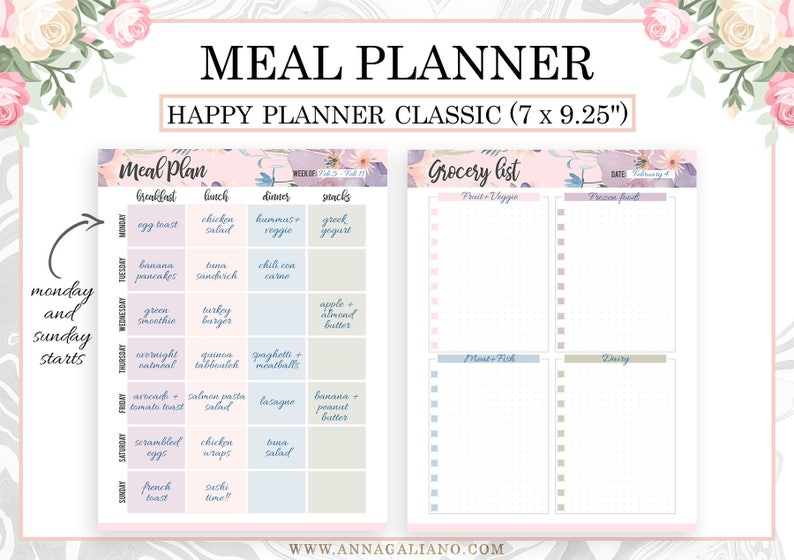 graphic relating to Printable Meal Planner known as Satisfied Planner Dinner Planner, Satisfied Planner Inserts Printable, Dinner Application, Supper Developing, Pleased Planner Grocery record, Dot Grid, Mambi clic