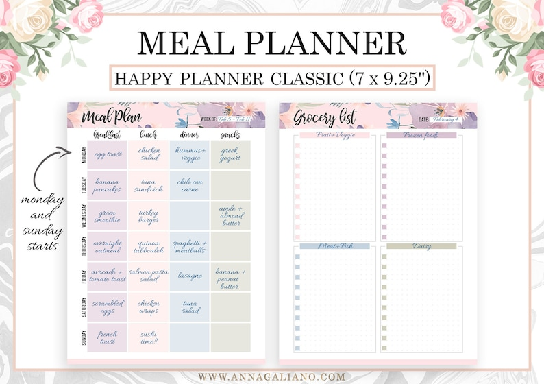 picture relating to Meal Planning Printable known as Pleased Planner Dinner Planner, Joyful Planner Inserts Printable, Supper System, Evening meal Developing, Joyful Planner Grocery record, Dot Grid, Mambi clic