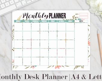 Monthly Desk Calendar, Monthly Desk Pad, Monthly Desk Planner, Undated Monthly Planner, Printable Desk Calendar, Floral Print, A4, Letter