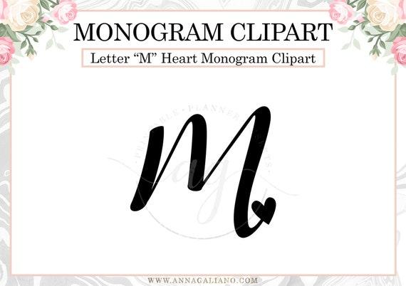 Letter M Heart Monogram Clipart Initial M Heart Png Digital Etsy