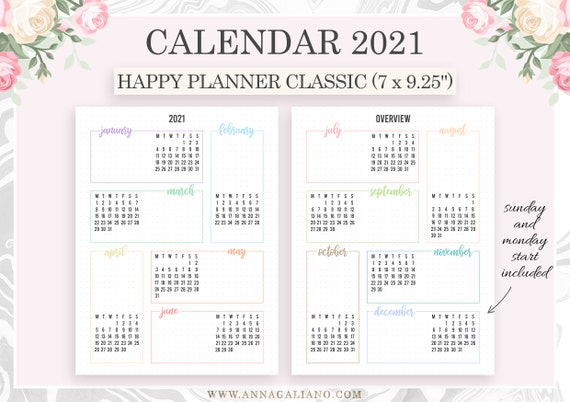 Calendrier Bullet Journal 2021 2021 Calendar Printable Happy Planner Inserts Year at a | Etsy