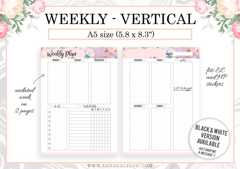 A5 Week on two pages Vertical Weekly Planner Inserts Undated image 0