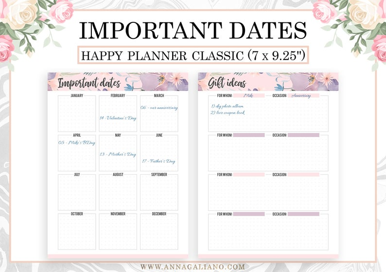 Happy Planner Inserts Printable Important Dates Calendar