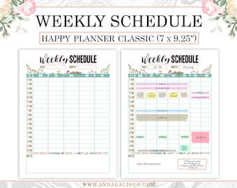 Happy Planner Weekly Schedule Printable, Hourly Planner, Weekly Planner, Printable Inserts, Weekly Organizer, Daily Schedule, Weekly Agenda