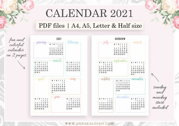 Calendrier Bullet Journal 2021 2021 Calendar Printable Year at a glance 2021 A5 Planner | Etsy