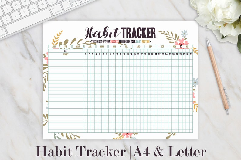 picture regarding Daily Goals Checklist titled Routine Tracker Printable, Day-to-day Behaviors Planner, Month-to-month Behavior, Bullet Magazine, Day-to-day Plan Listing, Ambitions, Productiveness Floral A4 Letter