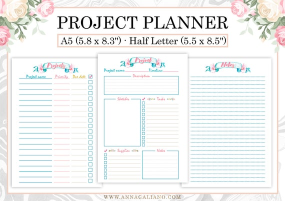 project planner printable project planner template craft etsy