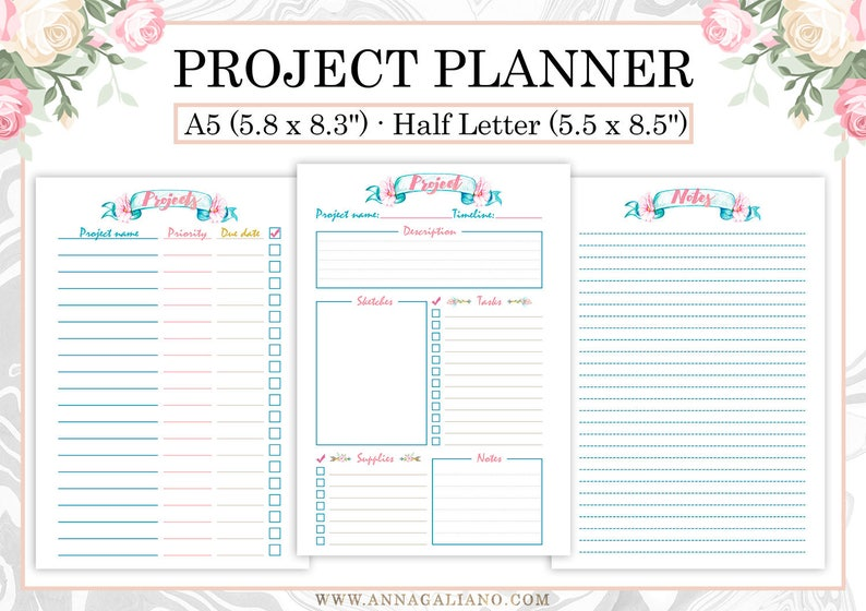 picture regarding Printable Project Planner named Task Planner Printable, Undertaking Planner Template, Craft Venture Planner, College Initiatives, Filofax Inserts, Kikki-k inserts, A5, 50 percent measurement