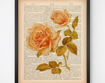 Vintage rose print, Rose art print, Printable art, Rose instant download, Dictionary print, Antique botanical print, Botanical wall art,