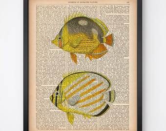 Printable art, Nautical wall art, Fish print, 8x10 and 11x14 wall art print, Yellow wall art, Home wall art, Instant download vintage print