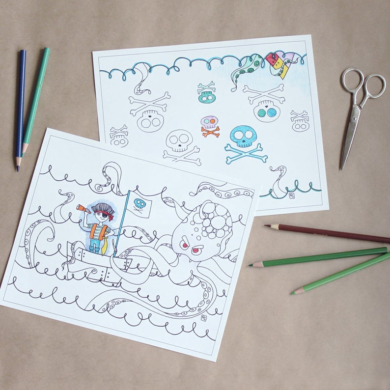 Pirate Printable Coloring Pages For Boys Pirate Coloring Book Etsy