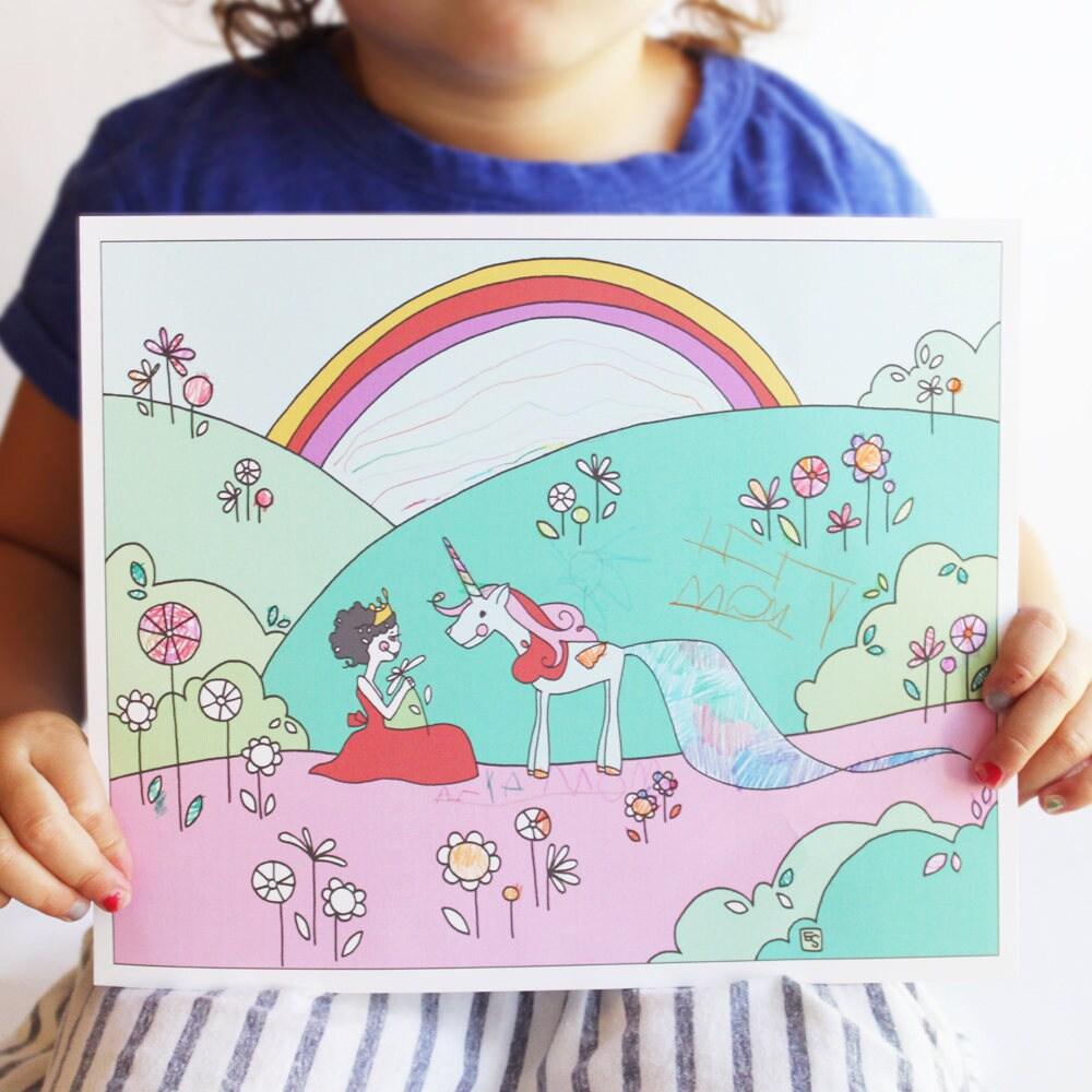 Unicorn Coloring Printable Unicorn Party Favor Princess | Etsy