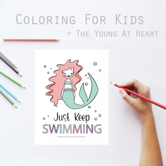 Mermaid Coloring Book Pages Printable Motivational Mermaid Summer Activity Download Simple Coloring Sheet Mermay By Erin Silliman Designs