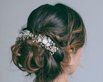 Bridal Headpiece, Bridal hair clips, Gold hair vine, Flower hair comb,  Gold headpiece, RosyroseStudio