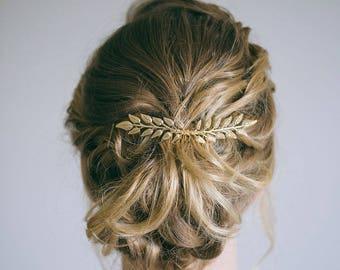 Bridal Hair Comb, Gold Leaf Hair Comb, Gold Hair Comb, Gold Hair Vine, Bride Hair Accessories, Leaf hair vine