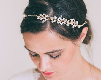 Bridal Headband, Bridal hair chain, Bridal hair vine, Gold Hair Vine, Rose gold hair vine, Bridal headpiece, Gold leaf hair vine