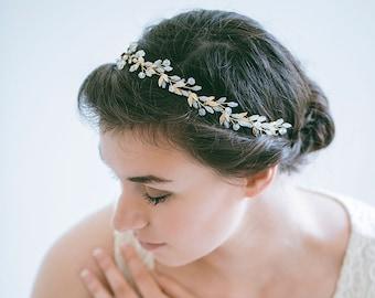 Gold Bridal Hair Vine, Gold Leaf Hair Vine, Leaf Wreath, Gold Headband, Gold hair vine, Crystal Hair Vine, Bride Hair Accessories