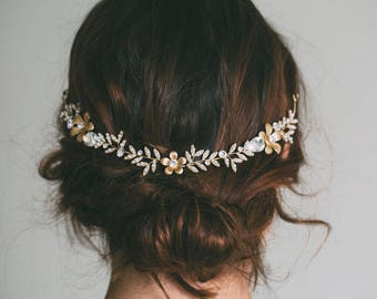 Bridal Headband, Bridal hair vine, Gold Hair Vine, Flower wreath, Gold bride crown,