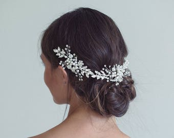 Bridal Headband, Bridal or Silver Hair Vine, Gold hair vine, Bridal wreath,  Bridal crown, Leaf hair vine, Flower hair vine, Hair wreath