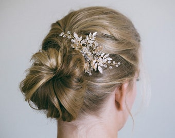 Gold Hair Comb, Gold Leaf Hair Comb, Silver Hair Comb, Gold headpiece, Gold leaf comb, Bridal hair comb, Prom Hair Comb, RosyroseStudio