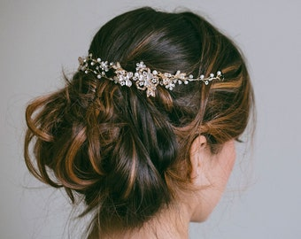 Bridal Headband, Bridal hair vine, Gold Hair Vine, Silver hair wreath, Rose gold hair vine, Silver hair vine, Boho wedding jewelry